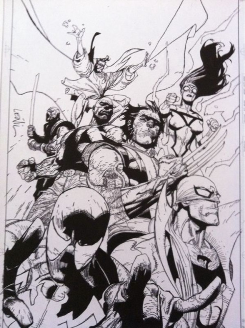 My first attempt at inking. Original pencils by Leinil Yu for the cover of New Avengers #28. Constructive criticism and critique are very welcome !  All characters are copyright Marvel