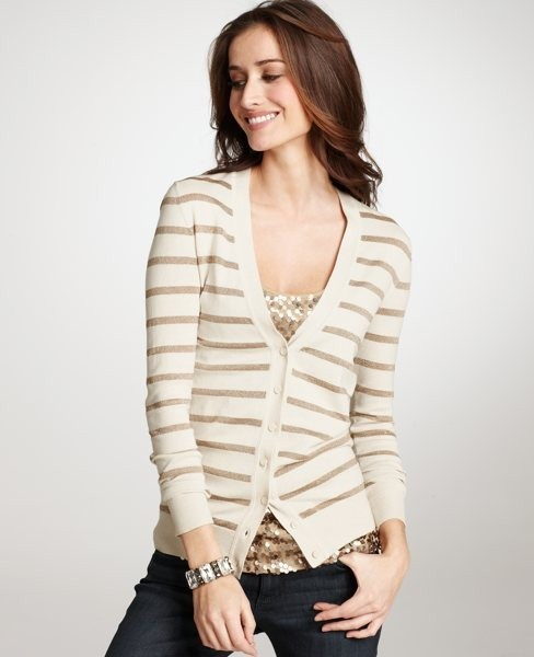 (via Put it in my closet / Metallic Striped Cardigan: Sale: Women's Clothing: ANN TAYLOR)
