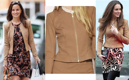 "Yes, the Middleton sisters do share, this is the Whistles Jersey Knit Jacket. Pippa wears the Whistles ""Tine Print BodyCon Dress"" as well, it is actually still available in a few sizes online at Whistles."