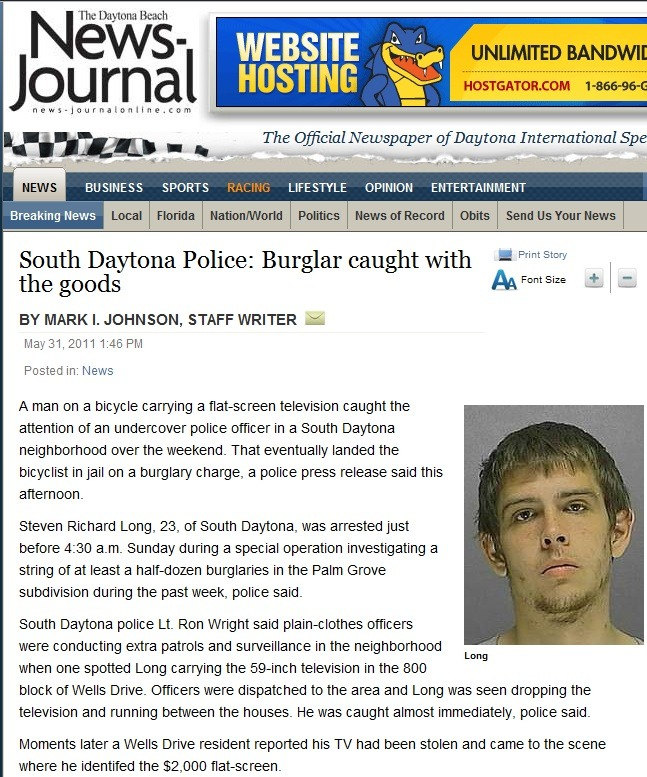 "Today in ""idiotic criminals""… From: The Daytona Beach News-Journal (News) on 5/31/2011 http://www.news-journalonline.com/breakingnews/2011/05/south-daytona-police-burglar-caught-with-the-goods.html"