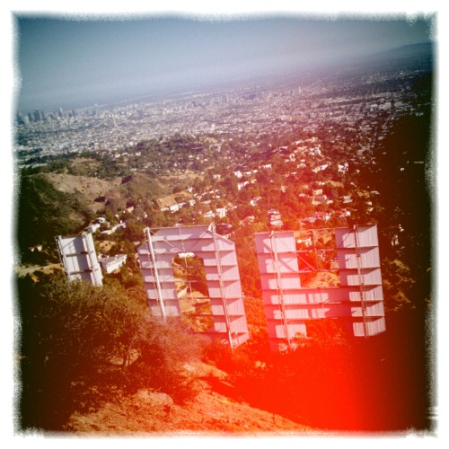 hiking. view from behind the hollywood sign.