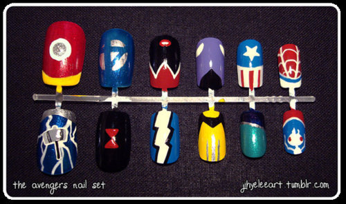These is the Avengers Nail Set, created by Jihye Lee.But it is sold, already. goawaysmallville bought them. Can you name all of them without looking at the tags? 334