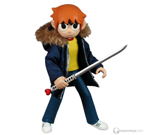 Check out the Scott Pilgrim Summer Exclusive from Mezco Toys. He comes with a removable cloth jacket, bass guitar accessory, and the Power of Love sword. Pre-order HERE for just $20. It's a non-numbered limited edition piece, so you might wanna' get while the gettin's good. [Via Plastic and Plush]