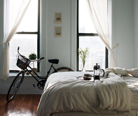 melisandemaude:  bed, coffee, bike, windows, sunday in bed. nothing better.