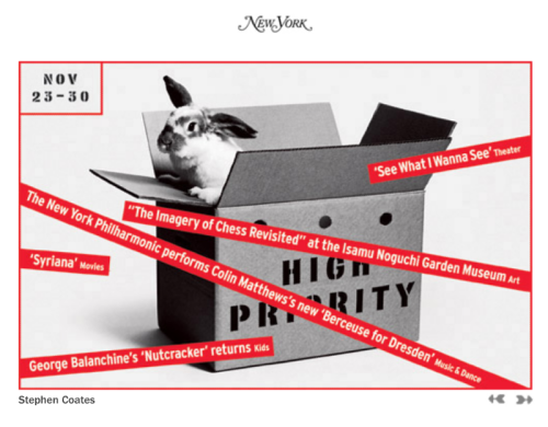 New York's High Priority, November 23-30, 2005, designed by Stephen Coates.