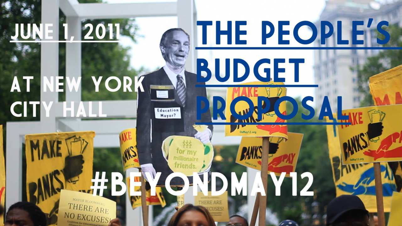 """BEYOND MAY 12 coalition press conference in City Hall park, introducing an alternative budget that provides sustainable options for generating city revenue, as well as maintaining human services and education that will help poor and working people.The press conference concluded with a march on City Hall and the stopping of Broadway rush hour traffic to raise awareness of the impeding cuts proposed by the Bloomberg administration. Their budget will eliminate the human safety net that countless families rely on for medical, housing, social, and education needs.""  #BEYONDMAY12 #USUNCUT"