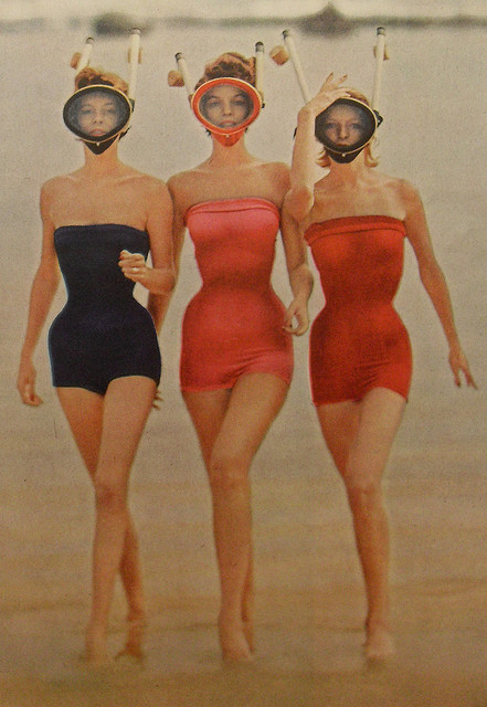 Snorkels and swimsuits, 1950s.