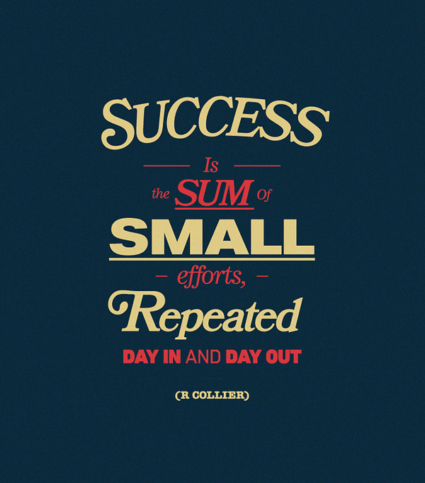 """Success is the sum of small efforts repeated day in and day out"". - R Collier"