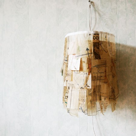 recycle and sew … … jolie lampe cousue de papier …. source