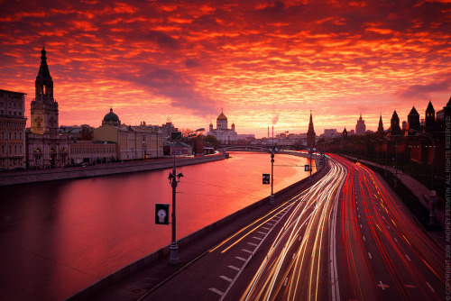 Red Sunset over Moscow by Andrey Permitin