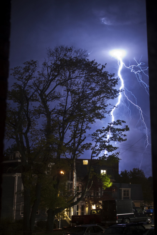 Shooting the lightning outside my window last night..