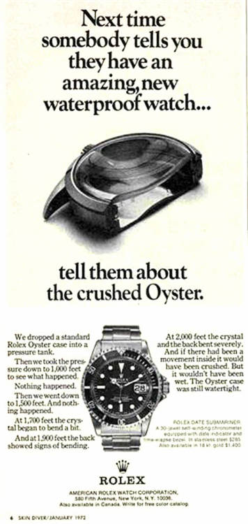 Vintage Rolex Advertisement - 1972 Featuring what looks like a Reference 1680. Pretty crazy looking crystal! The Ref. 1680s still featured acrylic crystals, not sapphire, which I think explains why the crystal has only bent on not shattered. (Sapphire is harder and more scratch-resistant than acrylic but more more brittle).