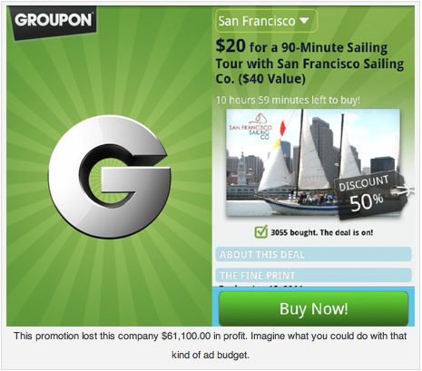 Will Groupon Really Boost your Local Business? There are dozens of businesses that have been all but ruined from their Groupon deals. Like any decision in business, it's easy to get swept away by trends and promises of future earnings. Now here's a little secret – Groupon is not for everyone.  -Via Social Media Examiner