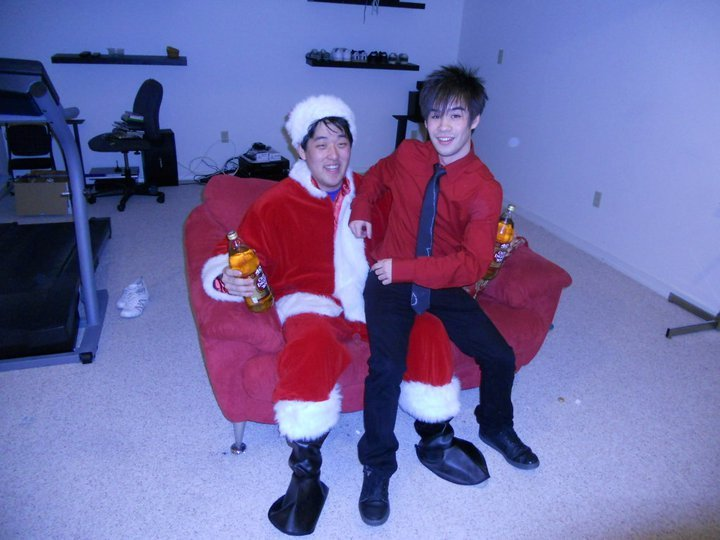 Christmas 2010, best Christmas ever!  No homo, we all had to sit on Santa's lap.