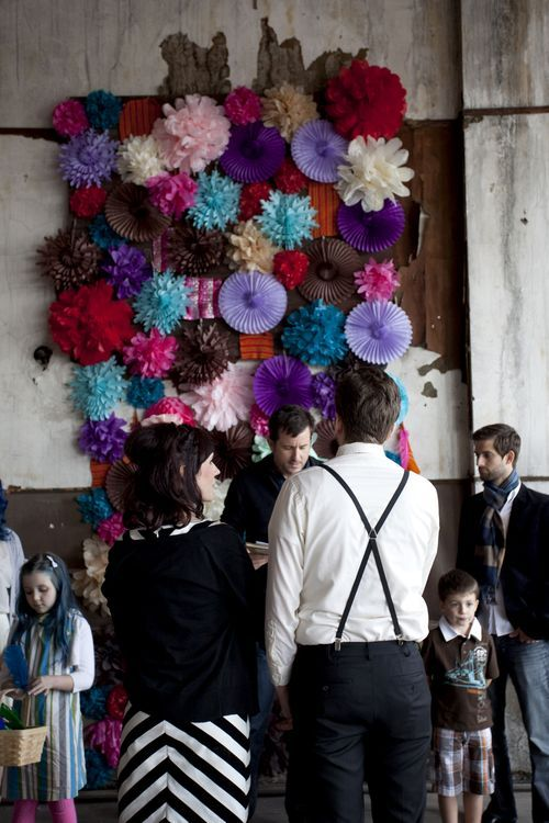 asyouwish:  Beautiful paper-flower altar for a wedding. weddingwhims:  flower backdrop (via Our Wedding Rehearsal: Practice Makes Perfect (part 3) - A Beautiful Mess)