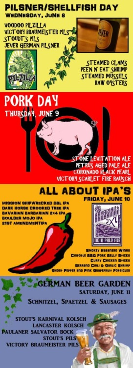 Pork days, a Saturday beer garden and more.