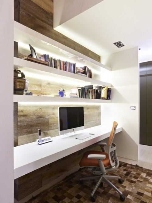 Great wall table workspace. Anyone know where to buy the chair shown in the image? (via Contemporary Home Offices from Celia Berliner : Designers' Portfolio 3628 : Home & Garden Television)