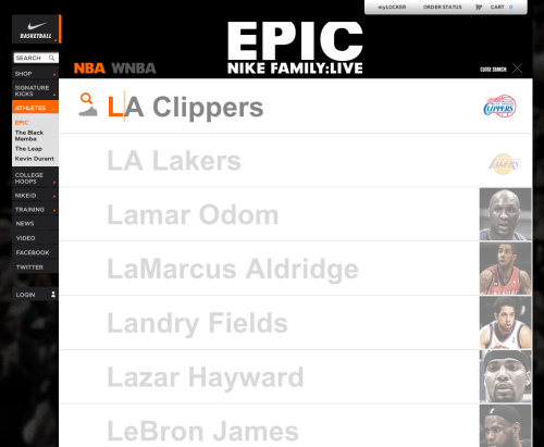 Nike Basketball Roster - On the new section, as users types their query into the search bar, auto-populated suggestions appear in real-time along with a small thumbnail to help users find who they're looking for. /via Eyesores