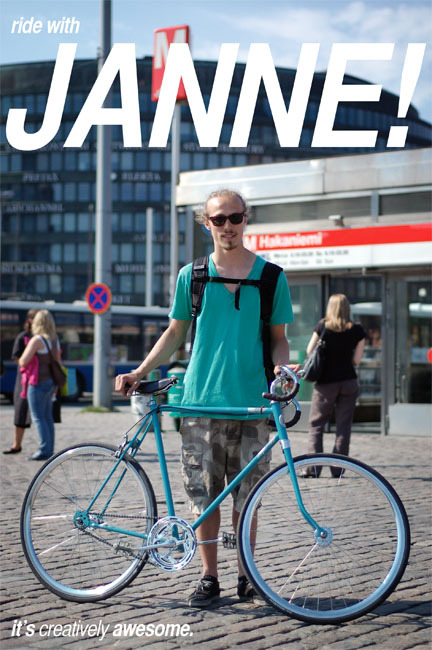 "Fancy a unique bike in Helsinki? Get in touch with this creative guy. Janne can't wait to build one for you. Then you can ride together! Try locating him at the Tokoi ""beach"" in Hakaniemi on a warm summer day. He'll most probably be there consuming a well chilled beverage."