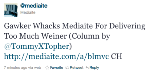 We love Mediaite (they did a great interview with us a while back), but man oh man do we agree with Gawker. No single news source has owned Weinergate like Mediaite. Maybe now's the time to take a breather? Possibly?