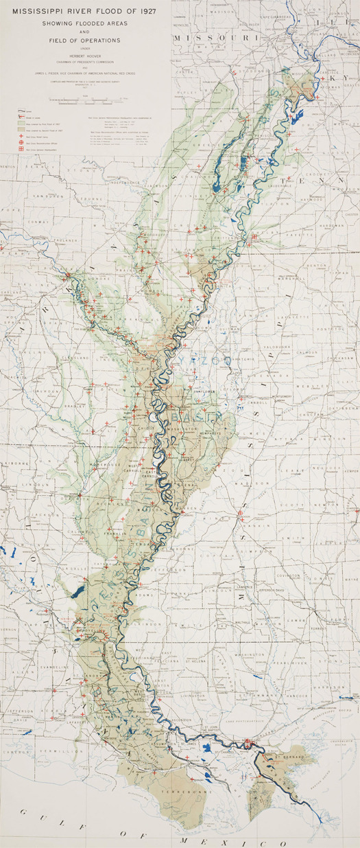 Map of the Great Mississippi Flood  of 1927 prepared by the US Coast and Geodetic Survey (predecessor of the National Oceanic and Atmospheric Administration)  (via mammoth // building nothing out of something)
