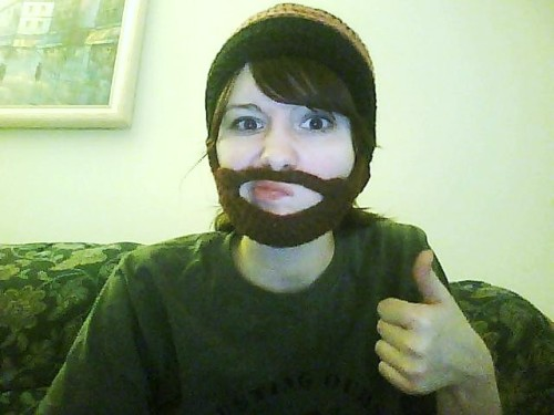 I crocheted a beardhat. Probably the most attractive picture of me ever.