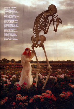 "thecoutureatelier:  ""Tim Burton's Tricks and Treats"" with Malgosia Bela, Evelina Mambetova and Sophie Srej Harper's Bazaar US October 2008 Photographed by Tim Walker Malgosia wears Ralph Lauren and Maison Martin Margiela."