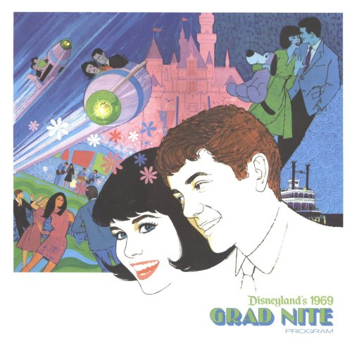 disneyprince:  Beautiful artwork on the cover of the Disneyland Grad Nite 1969 program brochure.  If only our school district wasn't so STUPID. That would be a very classy date, going to Disneyland dressed like that. Hmmm.