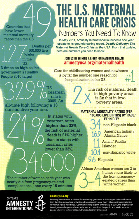 "[Poster from Amnesty USA showing statistics on ""The US Maternal Health Care Crisis"".] What does this have to do with pro-choice? Forcing women to have children against their will only makes these numbers worse."