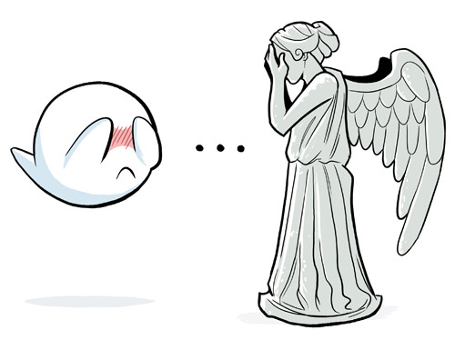 A Weeping Angel versus a Mario Boo - The Ultimate Cover-Your-Eyes Showdown!! agentmlovestacos:  It really is the ultimate battle! via blogwell:  THE ULTIMATE BATTLE (just don't blink)