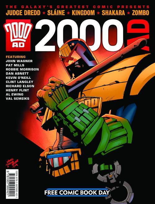 Grant Goggans reviews the 2000 AD FCBD offering:  Here's a book that, if I may say so, is long overdue. Every year for about the last decade, the principal comic book distribution company, Diamond, has sponsored this event where retailers order a bunch of comics to be given out freely to customers. The idea is that the comic shops will promote a big event at their store and guests will arrive to reacquaint themselves with how great it was to read funnybooks, and established customers will pick up a couple of new titles. 2000 AD, despite being the most consistently entertaining and rewarding comic book published over the last three decades, has never joined the party until this year. At last, there's a free 2000 AD comic to promote in the US. … As an introduction, I think this does a pretty good job, although I might quibble that it emphasizes the over-the-top, hyperviolent side of 2000 AD perhaps a little more than I might like. This led at least one store in Atlanta to restrict the freebie to adults only. (I protested that all Earthlet children should be exposed to thrillpower at the earliest possible age.) While 2000 AD, it must be said, isn't for everybody - and a regularly-scheduled, stereotype-avoiding, female-led series is long overdue and would help there - many of its best series are nowhere as dementedly gruesome as the offerings suggested here, and I'm not sure that this really gives readers a feel for how broad the scope of 2000 AD is.Another eight pages could have introduced readers to the classical pirate adventure of The Red Seas or the weird Victorian crime drama of Stickleback or the Western-in-Hell Ichabod Azrael or the brand new cops vs. demons Absalom, all of which are certainly violent, but not quite as visceral and outlandish as what's on offer here, and I think that might have been a bit more of a balance. Well, now we know for next year! Certainly recommended.