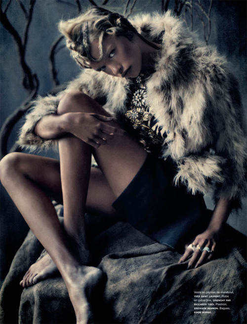 Yves Saint Laurent, feathers, stones & bones for Spring 2011 The tribal trend is always a favourite look.  The accessories and embellishments you can work into an outfit are vast with head-dresses, cuffs, huge earrings, thick chokers & anything you can feather.  This tribal lookbook shoot in Numero 124 will definitely give you an updated taste of the tribal look fit for Spring 2011.  Shot by Sebastian Kimwith stylist Charles Varenne and model Hailey Clauson. This look:  Yves Saint Laurent feather jacket, Givenchy by Riccardo Tisci dress, Erickson Beamon pectoral necklace, Eddie Borgo rings See the complete tribal fashion shoot with Sebastian Kim, Hailey Clauson & Charles Varenne in Numero 124