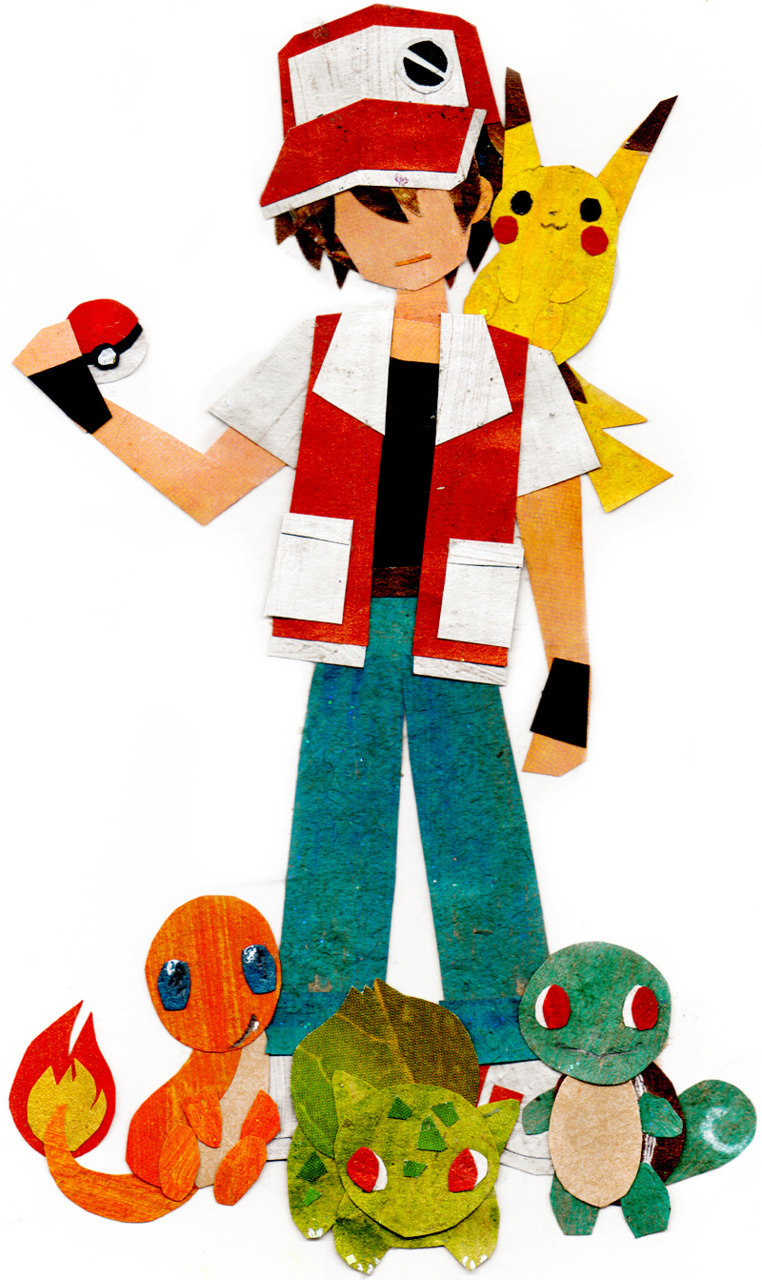 Geektastic Paper Collage  PKMN Trainer  (by ~botajira)
