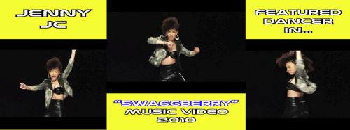 "Jenny JC in ""Swaggberry"" Music Video. I had a fun time dancing in this music video. The artists are JJ Money and Reema Major from G7 Records. Reema was serious but funny by saying, she was choosing which girls get to be in her video. I was a featured dancer for the video (captured movement shots in pic). Not sure if they got paid to endorse ""blackberry"" but, clearly you get the idea that they are singing about the ""blackberry"" extravaganza and talking bout ""pin numbers"". It's a catching song nonetheless. Released in May 2011. CHECK OUT THE VIDEO (CLICK LINK BELOW) http://www.youtube.com/watch?v=plfl4set_Yk"