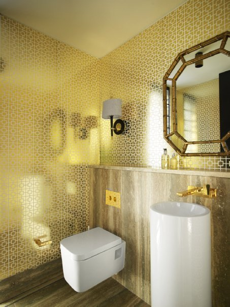 Gold bathroom.