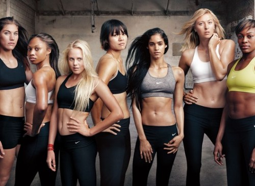 STEP IT UP Nike hired Annie Leibovitz to shoot seven female  athletes recruited from a broad spectrum of sports to make up the 'Make  Yourself' team. Tennis players Maria Sharapova and Li Na, track-and-field stars Allyson Felix and Perri Shakes-Drayton, soccer's Hope Solo, dancer Sofia Boutella, and surfer Laura Enever  appear in individual and group portraits, one of which features the  women in the Nike Victory Bra series. Here's the first pic and I can't wait to see the rest! source: WWD/ Annie Leibovitz