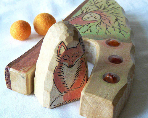 FOX GUARDIAN DRYAD Tree - Ooak wooden carved and burned decoration (by Rjabinnik & Rounien)