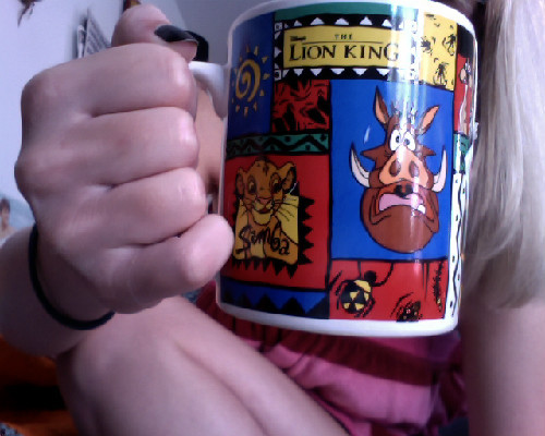 Fresh out the shower…best mug ever.  Hakuna Matata :)