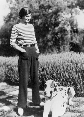 alwaysalwaysalwaysthesea:  Coco Chanel in a Breton stripe shirt and amazing pants.