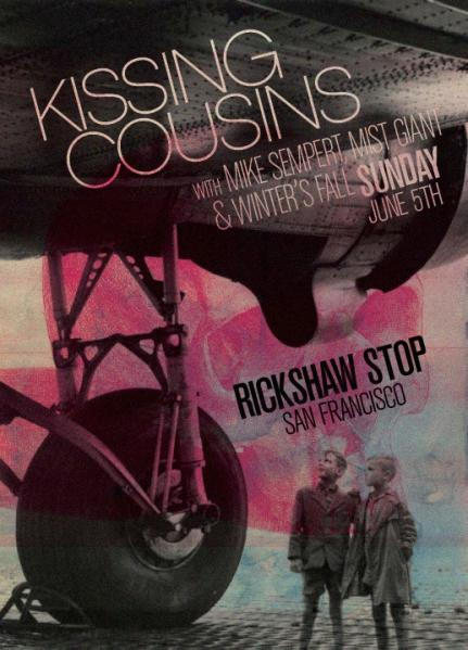 This Sunday! Catch us opening for Kissing Cousins, plus Winter's Fall and Mike Sempert of Birds & Batteries. Details and RSVP on the FB. We go on early — 8:30PM — so don't delay!