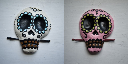 charlavail:  Handmade sugar skull hair clips. Ten white and ten pink up on my Etsy. They sold out in seven minutes. I'm in shock!