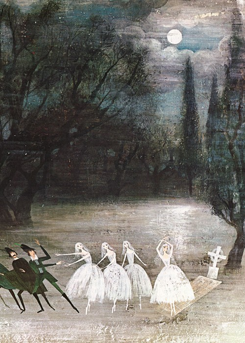 "theshipthatflew:  Illustration from Giselle, ""Tales of the Ballet"", Golden Press 1968. by Alice and Martin Provensen."