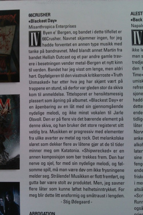 The review in norwegian Scream Magazine. Sorry for the crappy mobile picture. :)