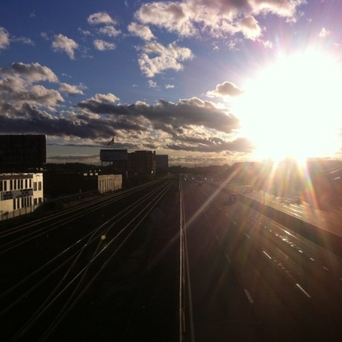 Mass pike on my bike ride home yesterday. It needed no filters! (Taken with instagram)