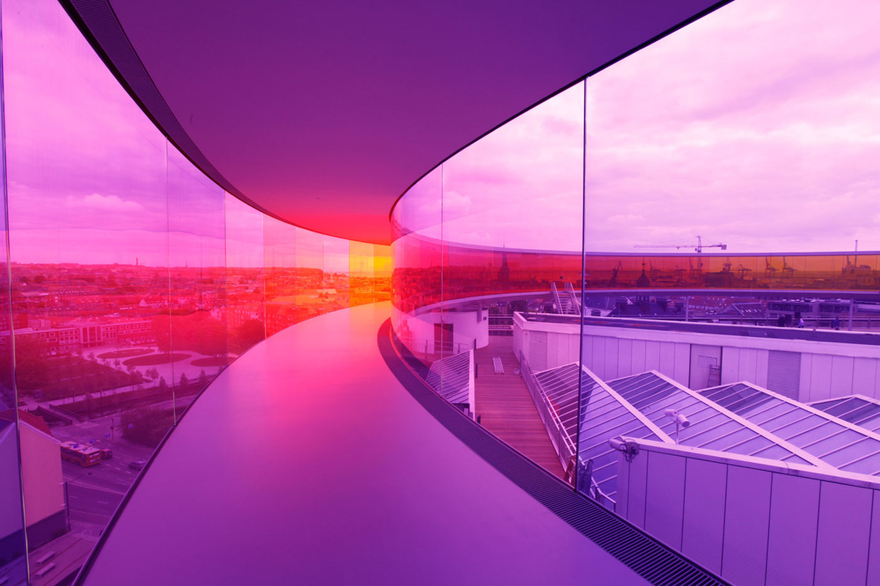 Your rainbow panorama, Opened on 28th May 2011 at ARoS Aarhus Kunstmuseum, Denmark - Photos by Ole Hein Pedersen & Studio Olafur Eliasson  - via @jeremyzilar