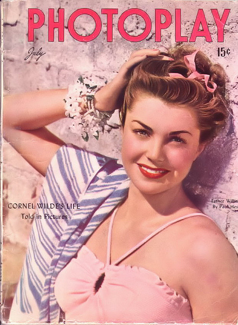Esther being too beautiful <3 steelskeletons:  Esther Williams on the cover of Photoplay, July 1946 by Silverbluestar on Flickr.
