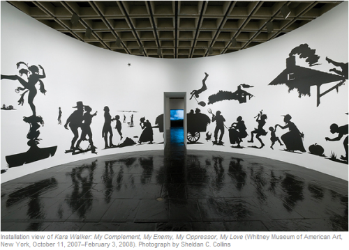 Kara Walker is my favorite contemporary artist. Her retrospective, My Complement, My Enemy, My Oppressor, My Love, pierced me: it's the most conscious and uncomfortable I've been in the presence of art. It takes guts and skill to create such powerful work.From the Whitney, where I saw Walker's work:  Drawing her inspiration from sources as varied as the antebellum South,  testimonial slave narratives, historical novels, and minstrel shows,  Walker has invented a repertoire of powerful narratives in which she  conflates fact and fiction to uncover the living roots of racial and  gender bias.