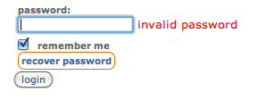 Reddit- Login form shows orange frame around password recovery link after wrong password. /via Vladimir