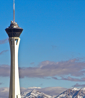 Stratosphere Tower on Flickr.The Stratosphere Tower and snow covered mountains in the background, December 2008.