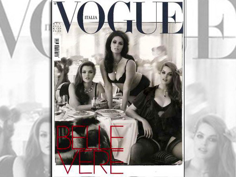 Vogue italia is one of my favourite editions but how terrible is this cover?!  I have no problem with plus sized models but WHY so sexual ALL the time? Can it not just be a fashion editorial in normal runway clothes? As opposed to lingerie, pouts and open legs?!  And with the pasta on the cover as well? Did they feel the need to put carbs in the shot just because the girls obviously eat? This is worse than Rihanna's US Vogue cover. VI: Off of you for the next month.